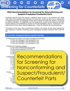Nonconforming and Suspect/Fraudulent/Counterfeit Parts Screening